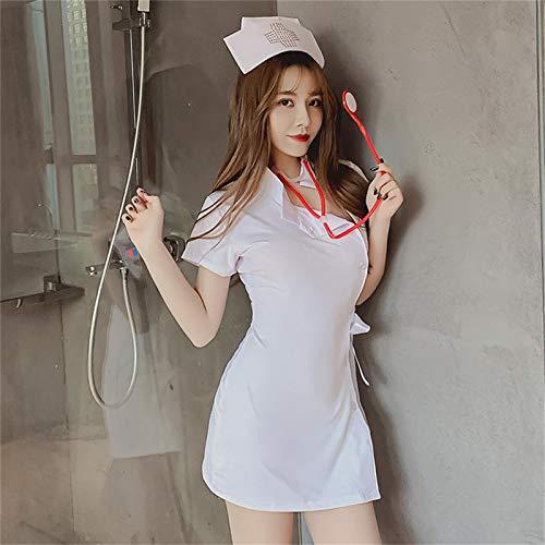 WBL Conjunto de Lencera de Cosplay de Uniforme de Enfermera Sexy para Mujer, Disfraz de Cosplay de Sirvienta Apretada Sexy, Vestido de Mueca con Bragas, Medias y Esposas