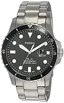 Fossil Men s FB-01 Quartz Stainless Steel Three-Hand Date Watch Color  Silver/Black  Model  FS5652