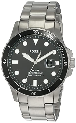 Fossil Men's FB-01 Quartz Stainless Three-Hand Watch, Color: Silver, Black Dial (Model: FS5652)