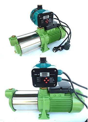 Kreiselpumpe Gartenpumpe INOX HMC145-4SH 1100Watt, Spannung 230V/50Hz, Förderleistung 9000 l/h - 150 l/min, 5 bar robuste Edelstahlwell + digitaler Pumpensteuerung DSK-18.