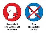 Aufkleber: 2er Kombi: Keine Maskenpflicht am Tisch, aber beim Betreten - 210 x 297 mm, A4, Aufkleber