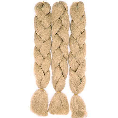 60cm Jumbo Braid Flechten Hair Extensions Braids Extensions Synthetik Braiding Crochet Hair Kunsthaar 3 packs 300g Haarteile (Dunkelblond)