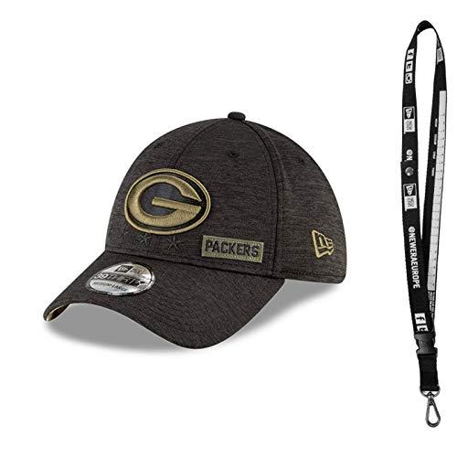 New Era 3930 Caps - Caps mit Flex in verschiedenen Größen - Cap der NFL für den richtigen Football Fan - inklusive NFL Schlüsselband (Green Bay Packers Salute, S/M)