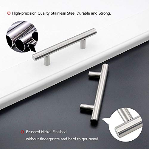 homdiy Cabinet Handles Brushed Nickel Drawer Pulls - HD201SN Cabinet Hardware Stainless Steel Kitchen Cupboard Handles Cabinet Handles,15 Pack 3-1/2in Hole Centers Handles for Dresser Drawers