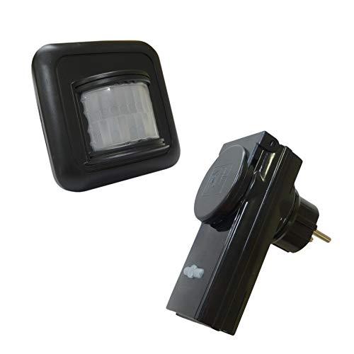 Funk PIR Bewegungsmelder Batteriebetrieb mit Funk-Steckdose für Außen & Innen