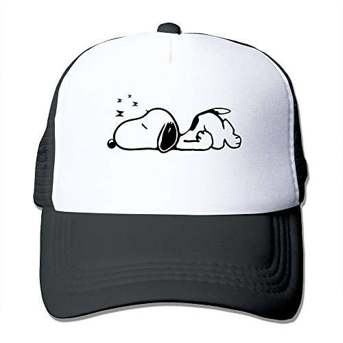 Hittings Peanuts Snoopy Male/Female Baseball Mesh Caps Hat Adjustable 100% Nylon by JE9WZ Black