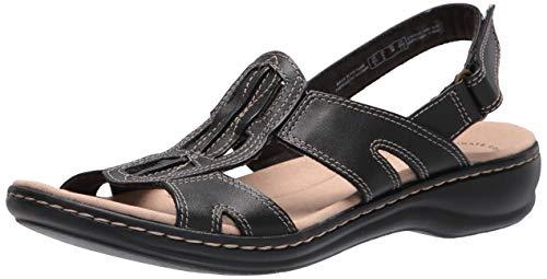 Clarks Women's Leisa Skip Flat Sandal, Black Leather, 7.5M