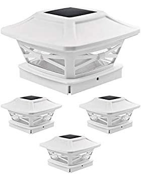 Davinci Lighting Renaissance Solar Outdoor Post Cap Lights - Includes Bases for 4x4 5x5 6x6 Posts - Bright LED Light - Pearl White  4 Pack