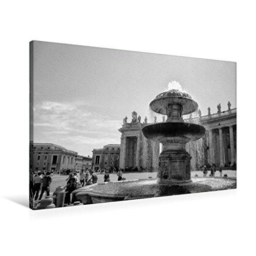 Calvendo Premium Textil-Leinwand 90 cm x 60 cm quer, Brunnen auf dem Petersplatz | Wandbild, Bild auf Keilrahmen, Fertigbild auf echter Leinwand, Leinwanddruck: Vatikan in schwarz und weiß Orte Orte