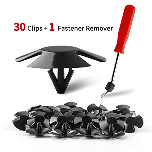 Goezocar Car Hood Insulation Retainer Clips Bumper Cover Retainer Clips 30pcs and Fastener Remover Replace for OEM 4878883AA LH LHS Nylon Clip Replacement for Chrysler Jeep Dodge Ram Nylon Clip