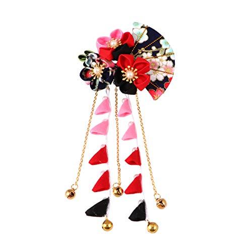 Minkissy Japanse stijl bloem haarspeld lange kwast haarspeld met fan klok hanger decoratieve bloemen haarspeld voor vrouwen meisjes verkleden (rood) Größe 1 zwart en rood