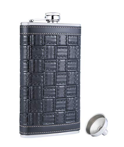 TOX TANEAXON 12 oz Square Pattern Pocket Whiskey Liquor Leather Wrapped Flask with Funnel and Premium Box - Stainless steel and Leak Proof
