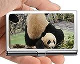 Estuche para tarjetas de visita, funda para tarjetas de visita de panda animal crema (acero inoxidable)