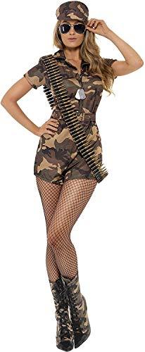 Smiffys Disfraz de mujer soldado sexy, camuflaje, con mono de pantalones cortos, cinturó