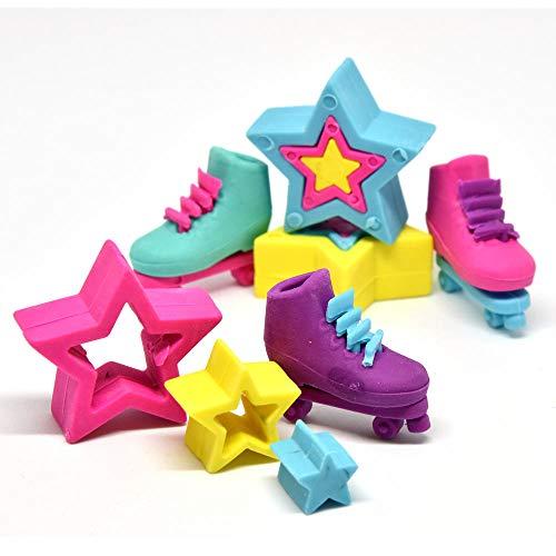 trendaffe Rollschuhe und Sterne Puzzle Radiergummis im 6er Set - Stern & Rollschuh Puzzle Radierer