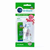 Baby Buddy Wipe N Brush Silicone Toothbrush and Dental Wipe Assistant, Clear by Baby Buddy