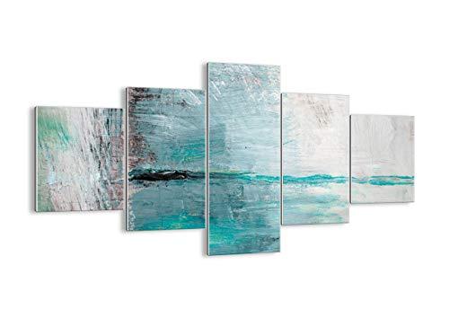 Quadro su vetro - 5 Parties - astrazione moderna - 125x70cm - Pronto da appendere - Home Decor - Arte digitale - Quadri Moderni In Vetro - Stampe Da Parete - GEA125x70-3591