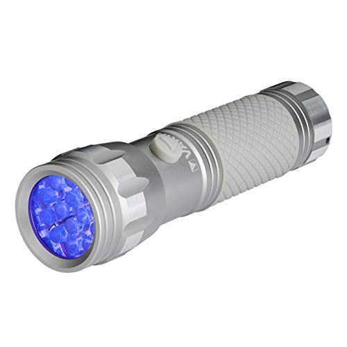 Varta UV Licht inkl. 3x AAA Batterien - macht Unsichtbares sichtbar, Hygienehilfe, Schwarzlicht, silber, 15638101421