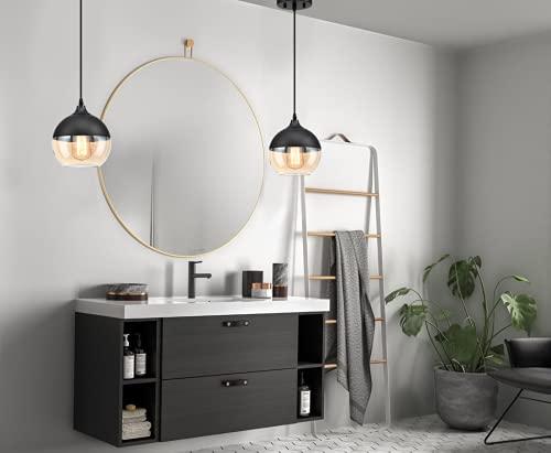 MOTINI 1-Light Globe Glass Pendant Light for Kitchen Island Modern Dome Teardrop Black and Yellow Small Pendant Lighting for Dining Room, Bedroom, Bathroom Hanging Light Fixture