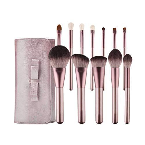 Our Peaches Lot de 12 pinceaux de maquillage, manche en bois durable, soies synthétiques douces, pochette cosmétique portable (Color : Brush Bag)