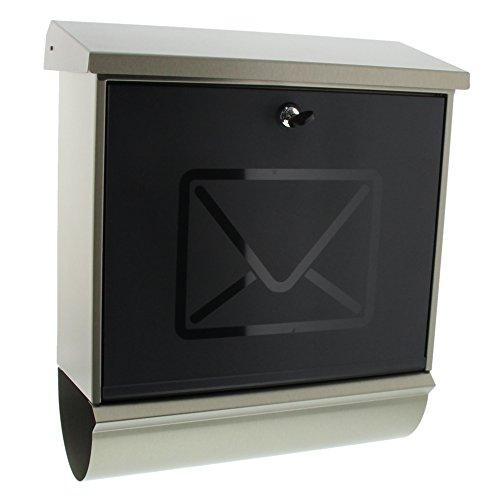 Burg-Wächter Edelstahlbriefkasten-Set mit Zeitungsbox, Satinierte Kunststoff-Tür, A4 Einwurf-Format, Vollflächig verzinkt, Edelstahl, Lucca-Set 3713 Ni, Letter