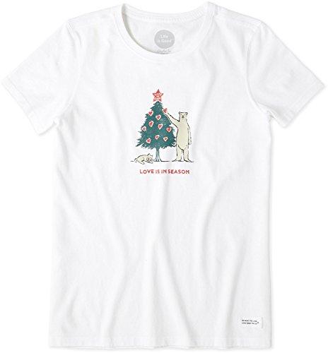 Life is Good Women's Crusher Tee Love Season Cldwht T-Shirt, Cloud White, Medium