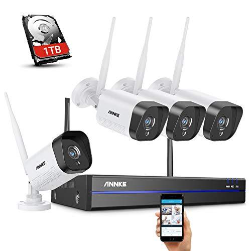 ANNKE WLAN Überwachungskamera Set Aussen 1080p Full HD Überwachungssystem 8CH NVR mit 4PCS WiFi Kameras Videoüberwachungs Set mit 1TB Festplatte H.264+ Videokomprimierung IP66 Wetterfest