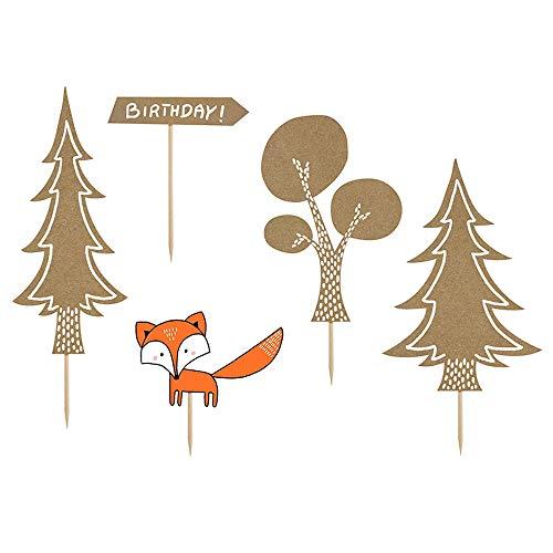 Generique - Liebliche Kuchendekoration Wald-Figuren 5 Stück braun-orange