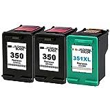 Gmoher Cartucho de Tinta Remanufacturado para HP 350 351 Cartuchos de Tinta 350 351XL Compatible con HP Photosmart C4480 C4380 C5280 C4580 C4400, Paquete de 3 de Alta Capacidad (2 Negros, 1 Color)