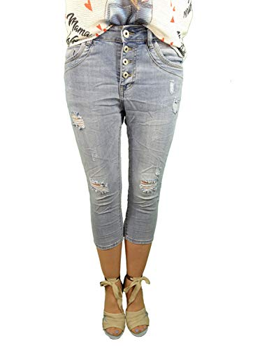 Damen Denim Bermuda Capri Hosed | destroyed mit Löchern| kurze Jeans Hose| mit dekorativer Knopfleitste und Aufschlag | Bermuda für Frauen | perfekter Sitz mit Stretch destroyed XL-42