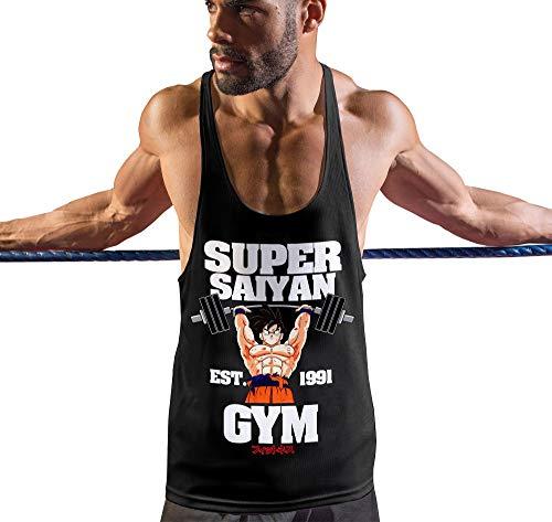 Stylotex Stringer Fitness Tank Top Super Saiyan Gym est. 1991 Herren Gym Tshirts für Performance beim Training   Männer ärmellos   Funktionelle Sport Bekleidung, Farbe:schwarz, Größe:M
