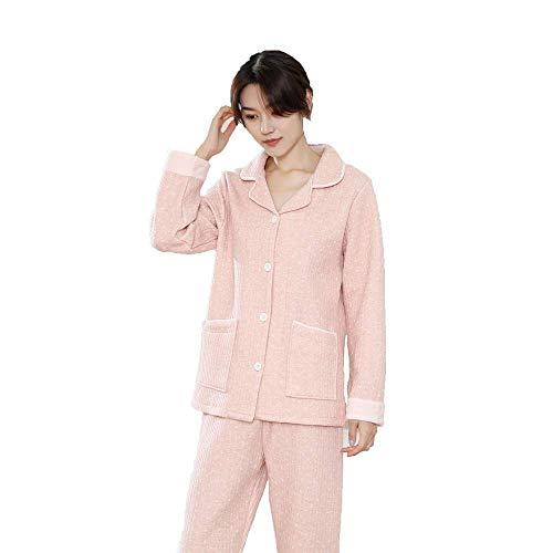 FZC-YM Conjunto de Pijama de algodón de otoño Invierno para Mujer, Pantalones de Manga Larga con Cuello en V Gruesos y cálidos, Ropa de Dormir de Dos Piezas, Ropa de salón Informal cómoda para el h