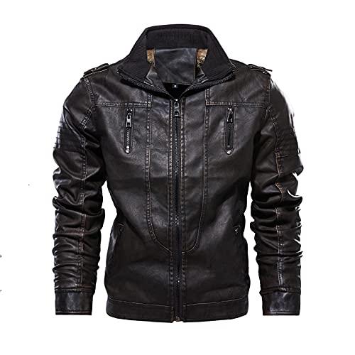 Inverno degli uomini Vintage Plus Size Sciolto Esterno Outercoat Plus Velvet Stand Collare Cerniera In Pelle Soprabito, Caff, L