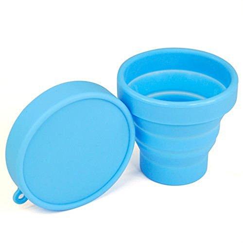 asentechuk® Portable souple en silicone pliable camping voyage pliable tasse extérieur Gobelet à Dents, Silicone, bleu,
