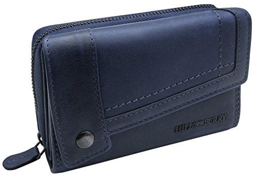 Hill Burry Damen Leder Portemonnaie   Große Geldbörse aus echtem Leder   Frauen Geldbeutel mit vielen Fächern   Mit Münzfach & RFID Schutz (Blau)
