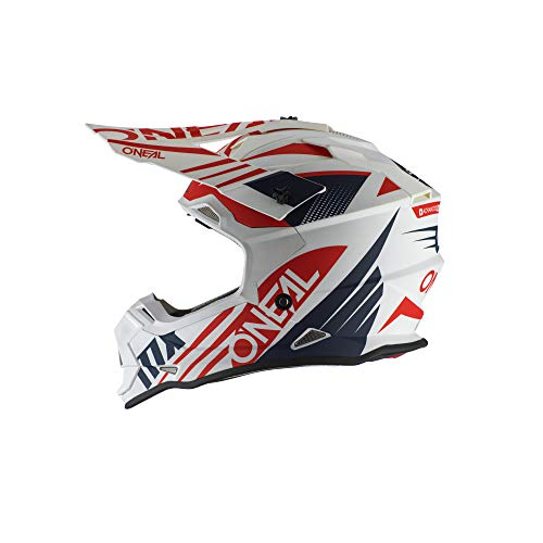 O'Neal 0200-424 2 Series Unisex-Adult Off-Road Helmet (White/Blue/Red, L)