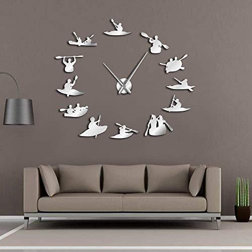 Reloj pared de bricolaje Canotaje Reloj de gran tamaño Reloj moderno Remo deportivo Reloj Big Time definido por el usuario Sailor Seaman Shipmaster Decoración de habitación sin marco 37inch Plata