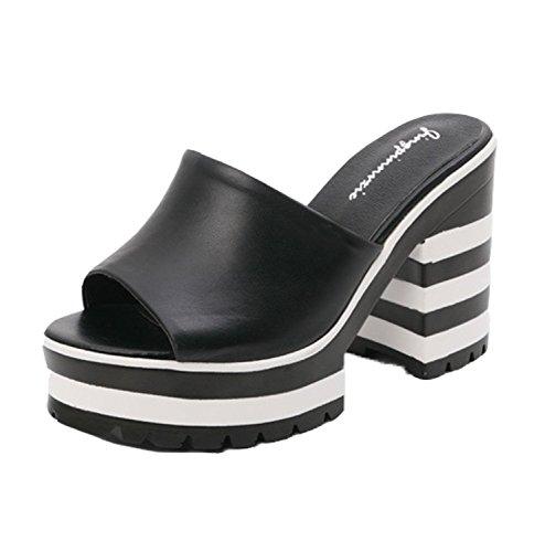 Dayiss® Damen Sommer Clogs & Pantoletten mit Absatz High Heels Sandalen Kuhleder Hausschuhe Plateau Spitzenschuhe Freizeitschuhe Slipper (39, Schwarz)
