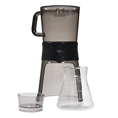 OXO Good Grips 1272880–Cafetera de émbolo, Filtro de Acero Inoxidable, Jarra de Cristal, Junta de Silicona, Negro, Transparente, 24x 24x 70cm
