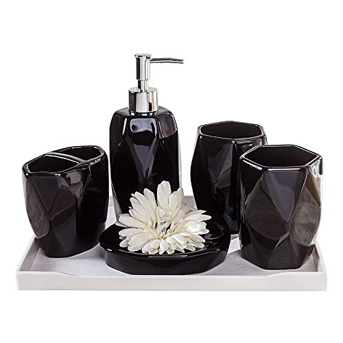 Xiao huang li Accesorios De Baño/Set De Baño De Cerámica De 6 Piezas/Portacepillos, Dispensador De Líquidos, Jabonera, 2 Tazas De Enjuague Bucal / 1 Bandeja Blanca (Color : Black)