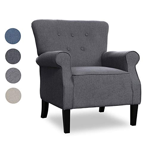 Top Space Modern Accent Arm Chair Single Sofa Comfy Upholstered Roll Arm Chair for Living Room with Wooden Leg