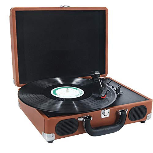 Retro Suitcase Designed,Record Player Belt-Drive 3-Speed Turntable Built-in Stereo Speakers Supports 7/10/12 Inches Vinyl Record,RCA Line Out,record Player With Speakers (Color : Brown)