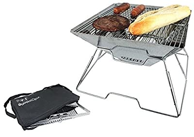 Portable Folding Bbq Pac Flat Silver Festival Picnic Camping Beach Case from a2z-discounts