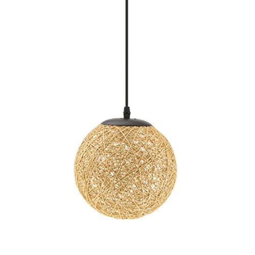 MagiDeal Landhaus Stil, E27 Stecker Rund Rattan Kugel Weidenkugel Decke Lampenschirm mit Kabel für Glühbirne Pendelleuchte Hängeleuchte Deckenleuchte - Holz-Farbe