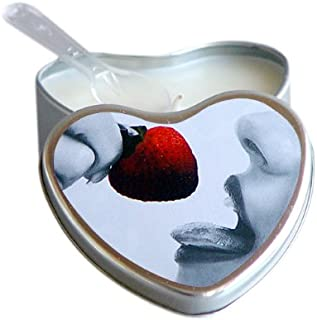 Earthly Body Strawberry Flavored Edible Massage Candle in 4oz Heart Shaped Tin