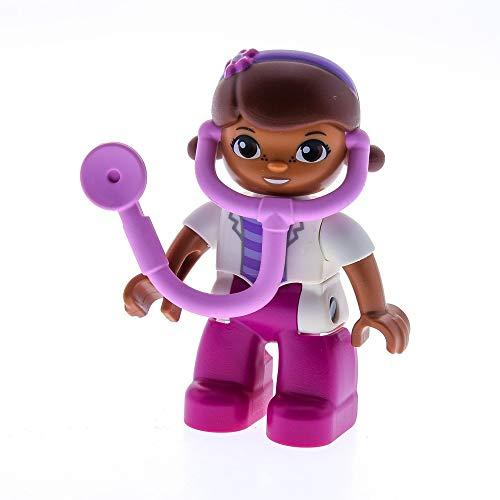 LEGO 1 x Duplo Figur Frau Dottie Doc McStuffins Weiss pink Zöpfe braun mit Stethoskop rosa Arzt Ärztin 10606 10605 47394pb201