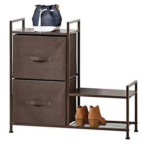 mDesign Estantería organizadora con dos cajones de tela – Cómoda metálica con baldas de madera – Organizador con cajones para guardar pantalones, camisetas, tops o ropa interior – marrón oscuro