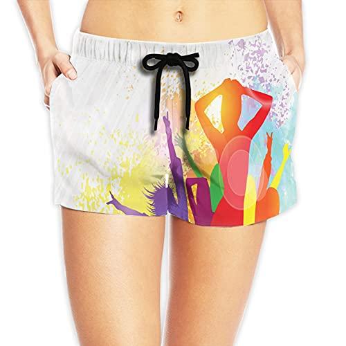 niBBuns Pantalones cortos de natación para mujer de cintura alta, color-24, X-Large