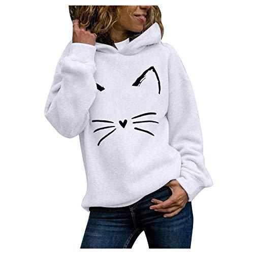 VEMOW Sudadera con Capucha para Mujer Sudadera Mangas largas, 2021 Nuevo Elegantes Moda Estampado de 3D Pata de Gato Color Sólido Suelto con Bolsillos Camisetas Chica Grandes(F Blanco,L)