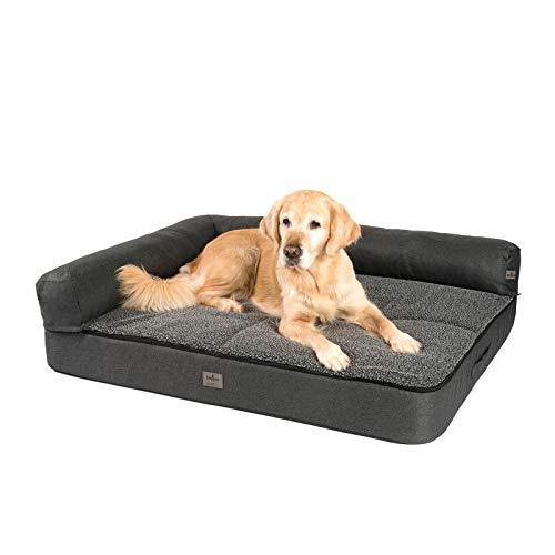 JAMAXX Premium divano 4 in 1 per cani – Divano ortopedico con schiuma Memory Visco, imbottitura rimovibile, extra spessa, lavabile, PDB3015 (L) 120 x 90 cm, antracite